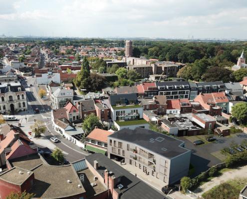 Kapellen Dorpsstraat nieuwbouw vogelvlucht